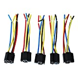 SODIAL(R) 5 Pcs 5 Pin Wires Cable Relay Socket Harness Connector DC 12V for Car Auto