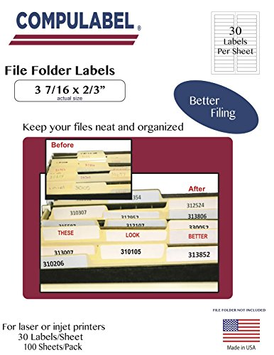 Compulabel 313650 White File Folder Labels for Laser and Inkjet Printers - 3 7 16 inch x 2 3 inch - Permanent Adhesive - 30 Per Sheet - 100 Sheets per Carton