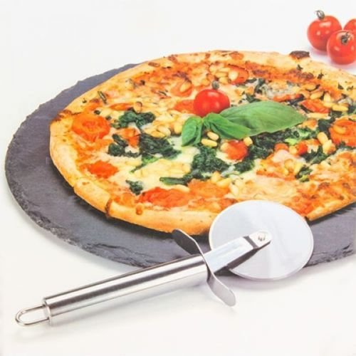 2 Piece Round Pizza Stone Baking Set Serving Plate Tray Cutting Board & Cutter MTS