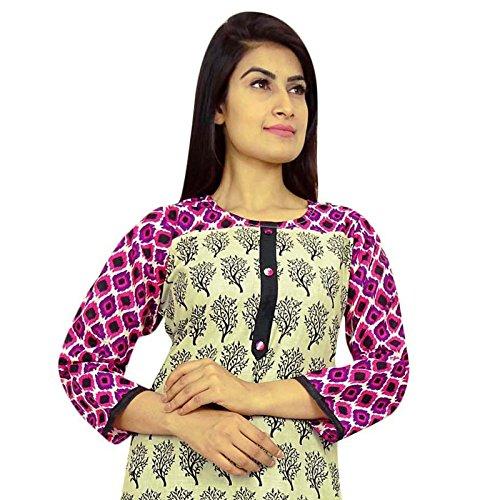 Bollywood Kurta de diseño indio étnico Mujeres Kurti superior del algodón de la túnica de vestir Beige-2