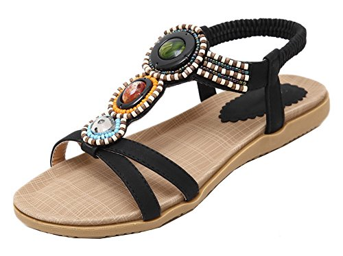 WeiPoot Elastic Sandals Heels Open Toe Women's Low EGHLH005575 Color Black Assorted qFPAa7