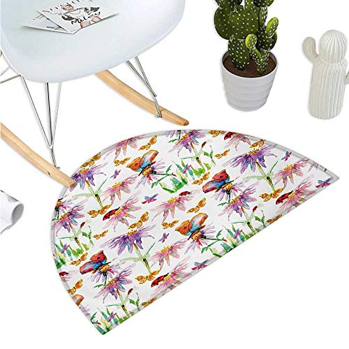(Floral Semicircular Cushion Watercolor Flowers with Butterflies Ladybug Spring Season Vibrant Nature Picture Bathroom Mat H 35.4