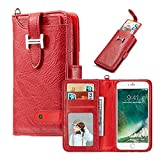 Hulorry iPhone X 5.8'' Wallet Case, Protection Case with Card Slots Money Pocket Cover Zipper Wallet Purse Case Drop Resistant Smart Wallet Credit Magnetic Sleeve for iPhone X 5.8''