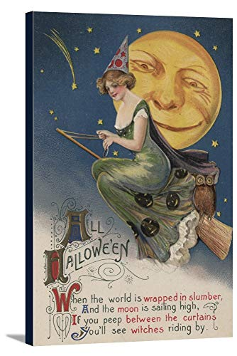 Halloween Greeting - Witch in Flight (23 1/2x36 Gallery Wrapped Stretched Canvas)]()