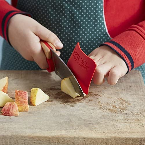 OPINEL - Coffret Complet Petit Chef - Ustensiles de Cuisine Enfant - Couteau, Éplucheur, Protège-Doigts - Hêtre & Inox - Rouge