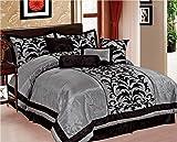 Purple and Silver Comforter Set EMPIRE Sarah 8-Piece Flocking Over Sized Comforter Bedding Set (King, Gray & Black)