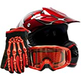 Youth Offroad Gear Combo Helmet Gloves Goggles DOT Motocross ATV Dirt Bike MX Spiderman Red, Large
