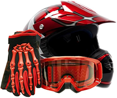 Youth-Offroad-Gear-Combo-Helmet-Gloves-Goggles-DOT-Motocross-ATV-Dirt-Bike-MX-Spiderman-Red