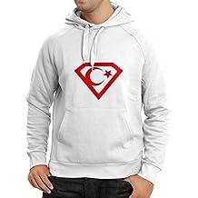N4120H Super Turkey Ankara Istanbul Shirt Mens Long Sleeve Hoodie (XXL, White Red)