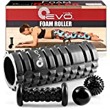 Yoga EVO Foam Roller Bundle - 2 Massage Balls and Foot Massager Stick - 13'' Textured High Density Roller