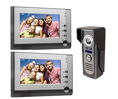 (Yobang Security 7'' TFT LCD Wired Video Doorbell Visual Video Intercom Speakerphone Door Phone Intercom System with 1000TVL Waterproof Outdoor IR Camera (805M12))