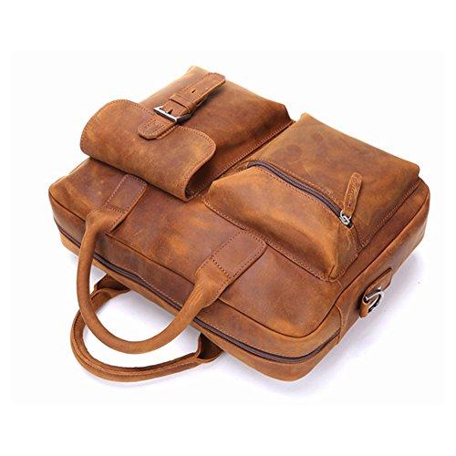 Mens Crazy Horse en cuir véritable épaule Messenger Bag Sacs Business Sac Voyage Fit 14 pouces pour Ordinateur Portable