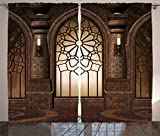 Ambesonne Gothic Decor Collection, Illustration of Antique Myst Gate with Oriental Islamic Pattern and Curvings Artistic Design, Living Room Bedroom Curtain 2 Panels Set, 108 X 90 Inches, Brown