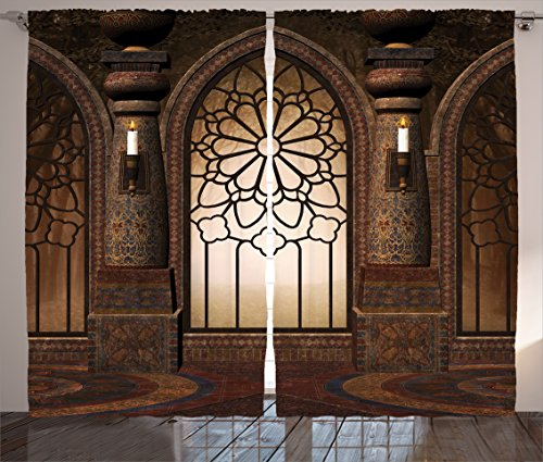 Ambesonne Gothic Decor Collection, Illustration of Antique Myst Gate with Oriental Islamic Pattern and Curvings Artistic Design, Living Room Bedroom Curtain 2 Panels Set, 108 X 90 Inches, Brown by Ambesonne