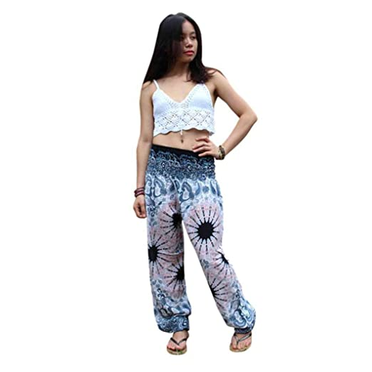 9be915785587 Amazon.com  iYBUIA Men Women Cotton Thai Harem Trousers Boho Festival Hippy  Smock High Waist Yoga Pants(White