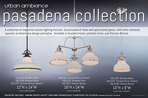 Luxury Industrial Pendant Light, Small Size: 9.5''H x 8''W, with Americana Style Elements, Nostalgic Design, Pretty Brushed Nickel Finish and Opal Etched Glass, UQL2336 by Urban Ambiance by Urban Ambiance (Image #5)