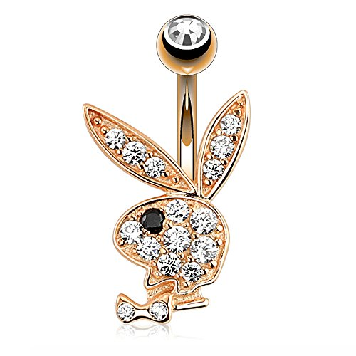 - Dynamique Paved CZ Playboy Bunny Rose Gold 316L Surgical Steel Belly Button Navel Ring