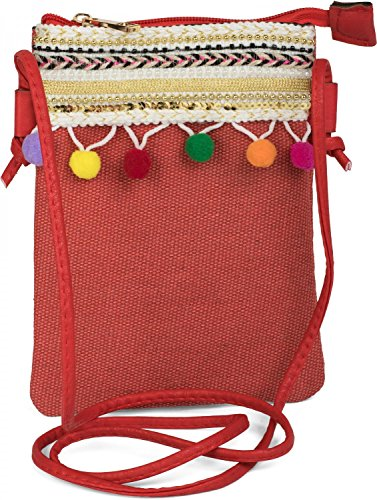 styleBREAKER minibolso de bandolera con pompón y un colorido ribete de bisutería en estilo étnico, bolso de hombro, bolso, de señora 02012128, color:Rojo Rojo