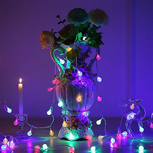 (EAVO Globe String lights,LED Bubble Crystal Ball with 100 LED 33 FT Waterproof Lamp String Decoration with Flashing Gradient Static Mode for Indoor outdoor Christmas Wedding Party Holiday Garden)