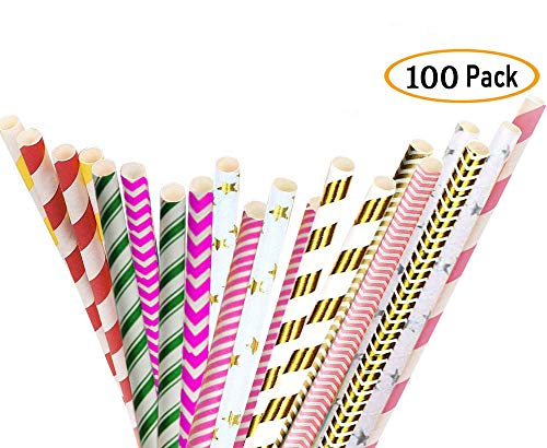 Drinking Straws Suppliers - Paper Straws, Fntacetik 100 Pack Biodegradable Paper Drinking Straws for Drinks, Smoothies, Milkshakes for Party, Wedding and Cake Pops
