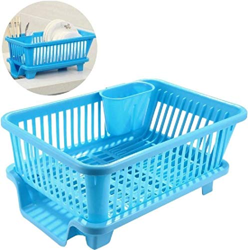 Sinex 3 in 1 Large Durable Sink Plastic Dish Rack Utensil Drainer Drying Basket for Kitchen with draining Tray After…