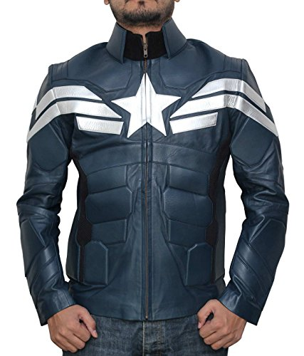 America Soldier Decrum Captain America Adult Costume Blue Winter Jacket M