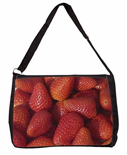 Strawberries Print Large 16 Black School Laptop Shoulder Bag PHkCzC
