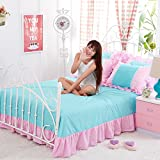 KFZ Bed Set Princess Style Lycra Cotton Lace 4pcs Bedding Flat Sheet Duvet Cover Pillowcases HT Twin Full Queen Size No Comforter Rainbow Pink Modern Designs (Fresh Princess,Blue, Full,71''x87'')