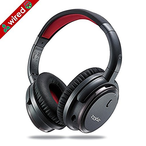 Over Ear Noise Cancelling Headphones with Microphone, Wired Stereo Headsets with Case for Air-Travel