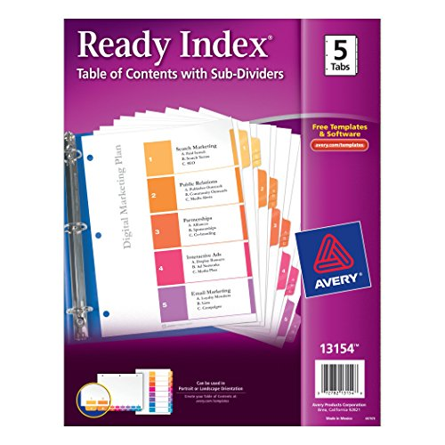 Avery Ready Index Table of Contents Dividers with Sub-Dividers, 5-Tabs per Set with A, B, and C Subsections for Each Numerical Tab (13154) supplier
