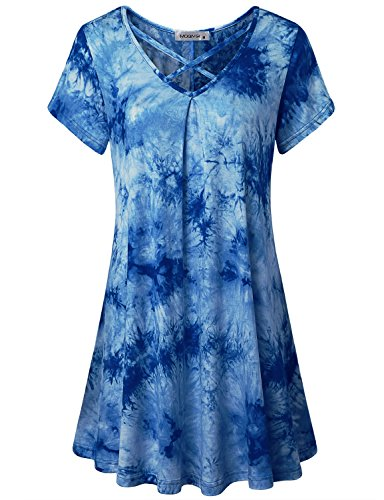 Tie Dye Waffle - MOQIVGI Flowy Tops for Women, Ladies Sexy V-Neck Light Breezy Colored Tie Dye Long T Shirt for Leggings Cute Vibrant Sophisticated Swing Tee Dress Above Knee Length House Wear Royal Blue X-Large