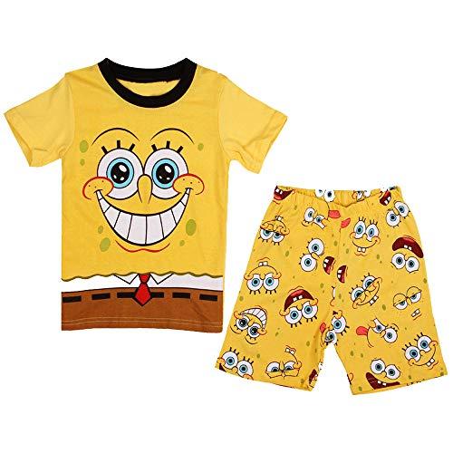 Fribro Boy Pajamas 100% Cotton Spiderman Short Kids Snug Fit Pjs Summer Toddler Sleepwear (Spongebob, 6T)]()