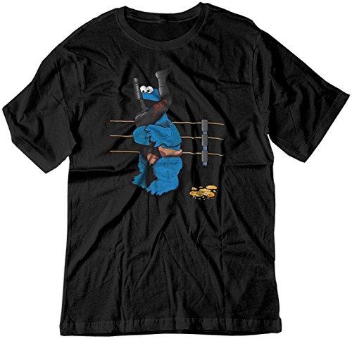 BSW Men's Cookie Monster Undertaker WWE Tombstone Shirt LRG Black (Cartoon Tombstone)