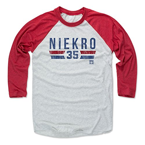 500 LEVEL Phil Niekro Baseball Tee Shirt (XXX-Large, Red/Ash) - Atlanta Braves Raglan Tee - Phil Niekro Font ()
