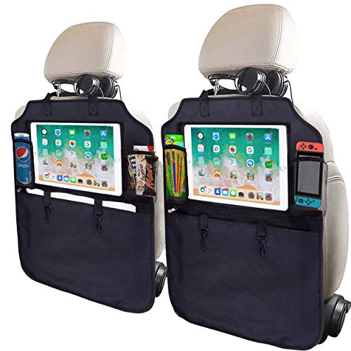SRAMI Kick Mats Back Seat Protector - Heavy Duty Sag Proof - Seat Back Protector for Kids - Kicking Guard - with 13 inch iPad Pro Holder - XL Storage Organizer Pocket - Tissue Box Included
