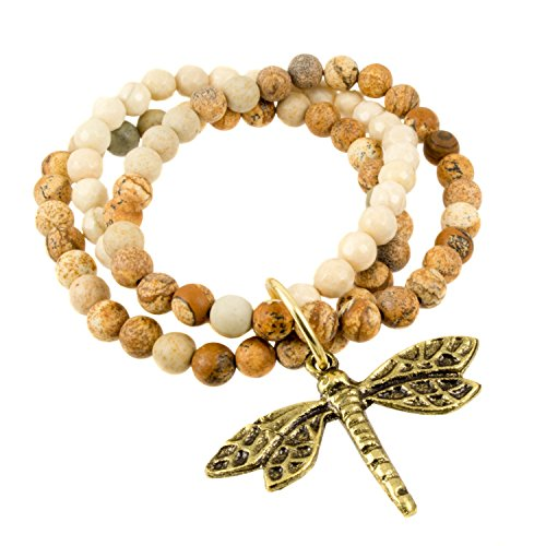 - Triple Strand Picture Jasper Beads with Antique Brass Dragonfly Charm - Stretch Bracelet