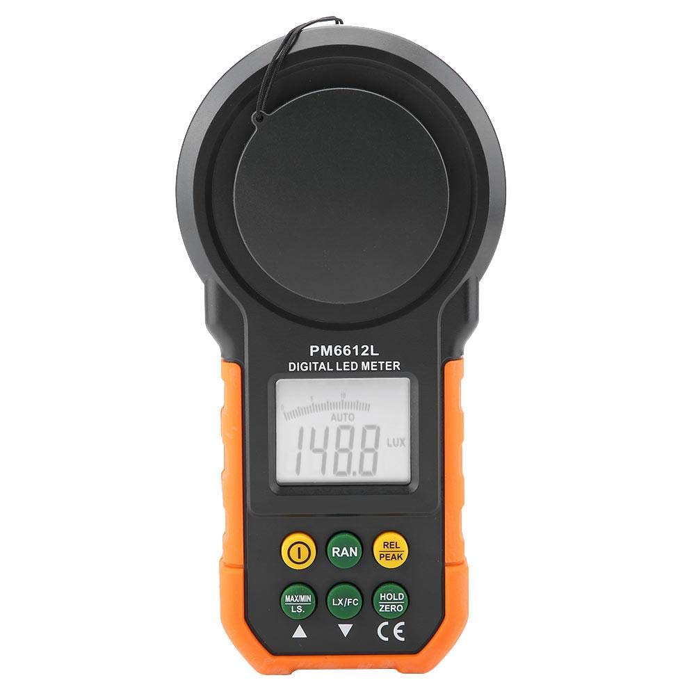 PEAKMETER Digital Light Meter,Lux Meter PM6612/PM6612L 200,000Lux High Precision Photometer Luminometer with Auto Manual Range, Max/Min, Data Hold (PM6612L)