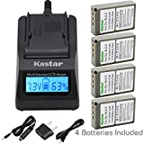 Kastar Fast Charger and 4 X BLS-5 Battery for Olympus BLS5 PS-BLS5 and Olympus E-PL1 E-PL2 E-PLE15 E-PM1 E-PM2 E-M10 OM-D E-400 E-410 E-420 E-450 E-600 E-620 E-P1 E-P2 E-P3 E-PL6 E-PL5 stylus 1 Camera