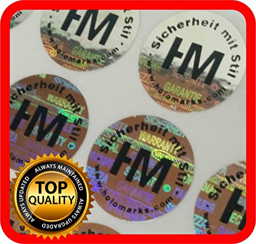 Your BLACK logo and text on 1000 Security hologram labels, void warranty stickers tamper evident seals round .59 Inch ()