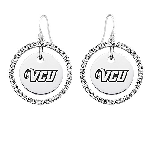 Virginia Commonwealth VCU Rams White Cz Circle Earrings by College Jewelry