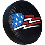 "HEALiNK Spare Tire Cover,PVC Leather WaterProof Dust-proof American Flag Rv Wheel Covers for Jeep Liberty wrangler SUV Camper Travel Trailer Accessories (17 inch for Tire Φ 31""-33"")"