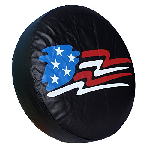 HEALiNK Spare Tire Cover,PVC Leather Waterproof Dust-Proof American Flag Rv Wheel Covers for Jeep Liberty Wrangler SUV Camper Travel Trailer Accessories (14 inch for Tire Φ 23″-27″)