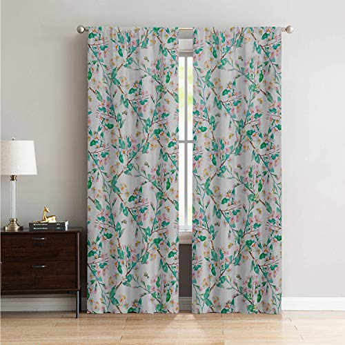- Mozenou Bedroom/Living Room Curtain Panels Flower,Pink Cherry Blossoms Pattern with Bumble Bees Japanese Spring Themed Artful Print,Pink Green W108 x L84 Inch