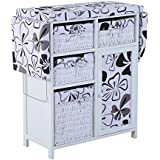 """HomCom 32"""" Wood Wicker Ironing Board Center with Baskets - White/Black"""