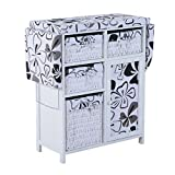 HomCom 32'' Wood Wicker Ironing Board Center with Baskets - White/Black