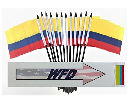 """PACK of 12 4""""x6"""" Colombia Miniature Desk & Table Flags, 1 Dozen 4""""x 6"""" Colombian Small Mini Stick Flags (Flags Only)"""
