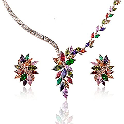 Ginasy Elegance 18K White Gold Over Alloy Cubic Zirconia Jewelry Colorful Pendant Necklace and Earring Sets for Women (gold - Elegance Ceiling Light