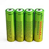 4 Pack 3.7V Rechargeable Battery 5000mAh Button Top