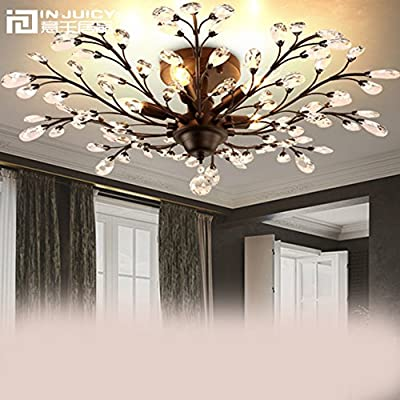 Injuicy Lighting American Country Vintage Retro Crystal Wrought Iron Ceiling Light French Villa Bedroom Pendant Lamp Porch Branches Droplight Balcony Lighting Decor