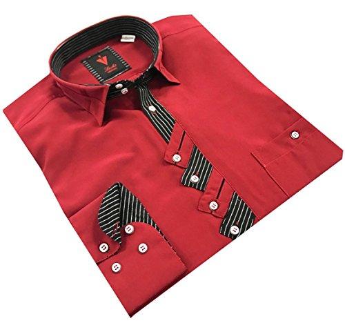 Leché Designerhemd langarm in Rot, Scharz-Rote Zick-Zack-Knopfleiste
